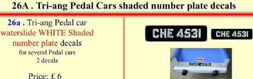 26A Tri-ang Pedal Cars shaded number plate decals